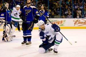 Vancouver completed their sweep of the St. Louis Blues tonight in St. Louis.